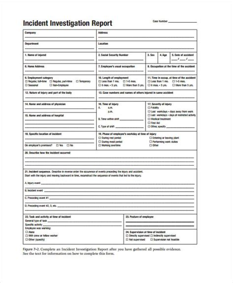 incident investigation template 9 investigation report templates free sle exle