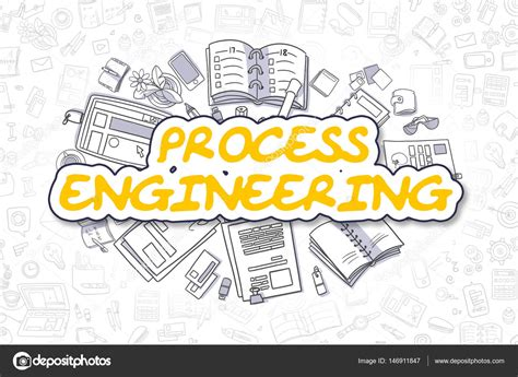 doodle text process engineering doodle yellow text business concept