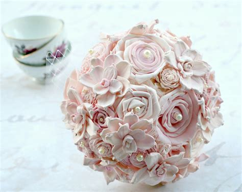 wedding bouquet blush pink bridal bouquet sola flower
