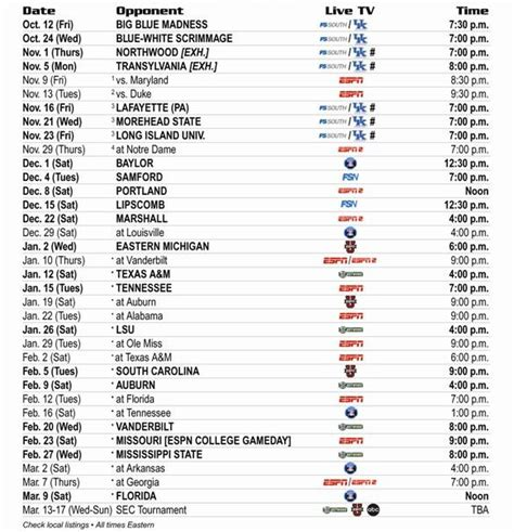 printable kentucky basketball schedule 2014 15 image gallery kentucky basketball schedule