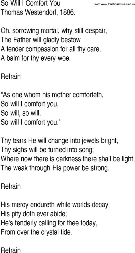 comfort you lyrics hymn and gospel song lyrics for so will i comfort you by