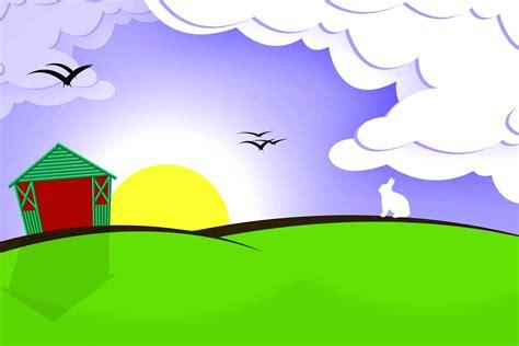 gambar kartun pemandangan alam harian nusantara