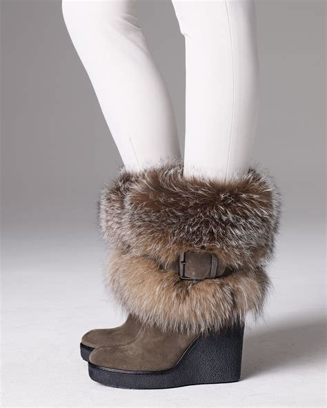 moncler marguerite fur cuff wedge boot in brown lyst