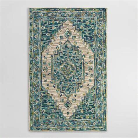 tufted wool area rugs blue tufted wool zahra caravan area rug world market