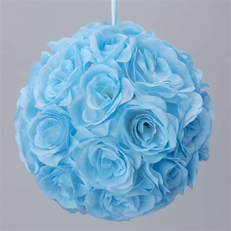 kissing ball with lights light blue 7 and 10 inch silk flower pomander kissing balls