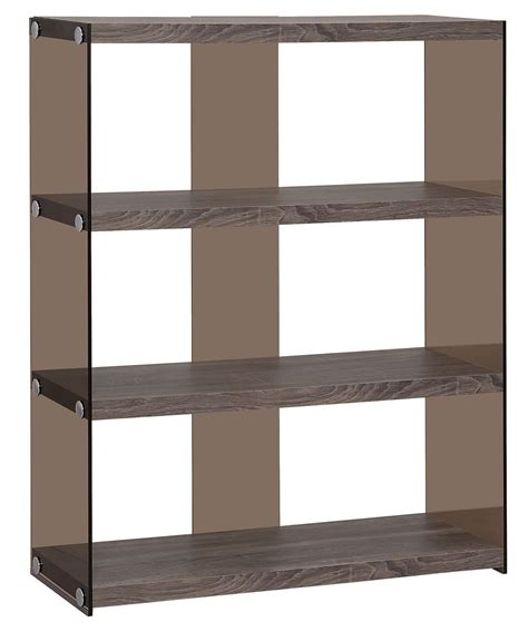 open shelf 800526 weathered grey side glass open shelves bookcase