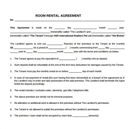 rent a room agreement template simple rental agreement 9 free documents in