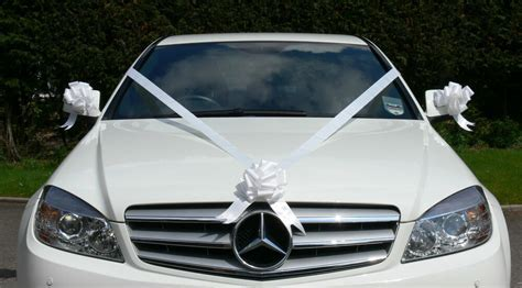 WHITE Wedding Car Decoration Kit Large Bows & 7 Metres of