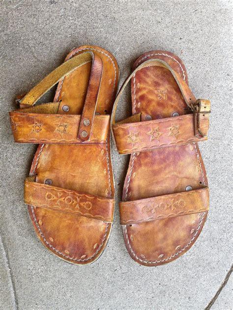 Handmade Mexican Shoes - vtg mexican leather sandals handmade sz 12 huarache