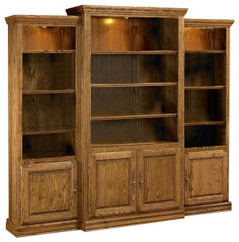 Wall Bookcases With Doors Heirloom Oak 3 Wall Unit Media Center With Doors