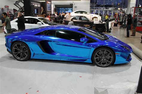 lamborghini aventador chrome blue sema 2013 blue chrome lamborghini aventador in the seibon