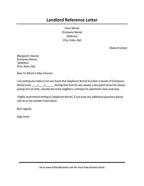 landlord reference letter 26 template lab