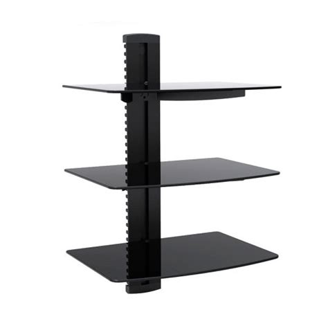 Wall Mount Receiver Shelf by Mount Pros Wall Mounted Black 3 Tier Glass Component Dvd