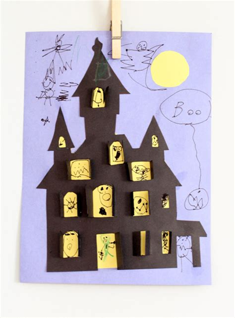 printable haunted house craft manualidad infantil para halloween casa encantada pequeocio