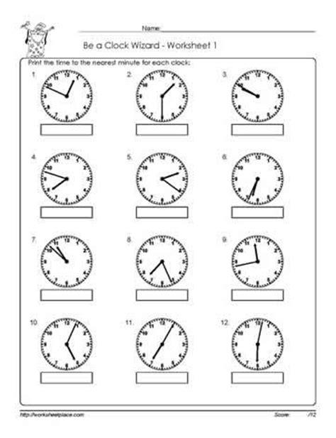 clock worksheet nearest minute telling time classroom pinterest
