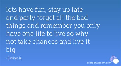 the not so big life lets have fun stay up late and party forget all the bad