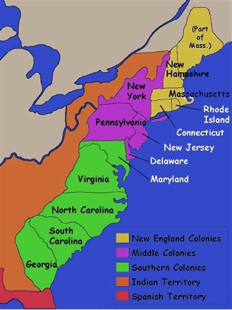 original thirteen colonies map   colonies  canadian territories separate entities
