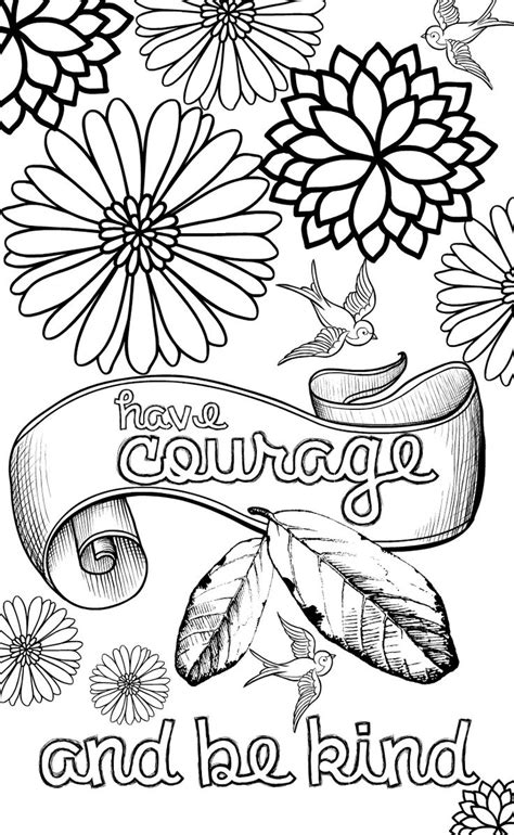 kind words coloring page cinderella inspired grown up colouring pages have courage