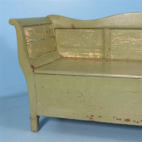 vintage storage bench seat antique swedish green painted storage bench circa 1860
