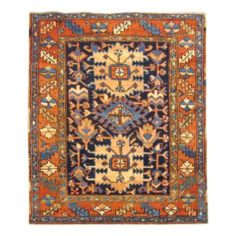small square rugs antique heriz karaja rug small square size w blue field and medallions at 1stdibs
