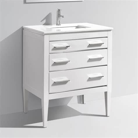 White 30 Inch Bathroom Vanity 30 Inch Contemporary Bathroom Vanity White Glossy Finish White Quartz Countertop