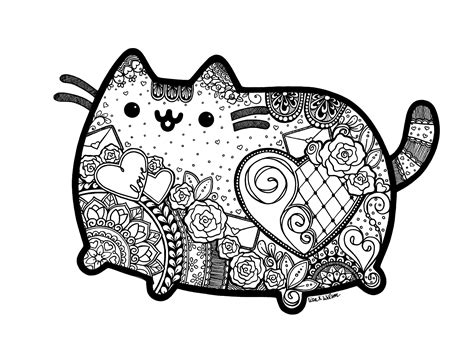 cat zentangle coloring page pusheen inspired zentangle with mandalas great coloring