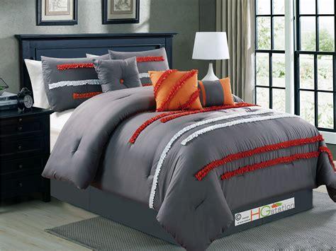 orange striped comforter 7 pc garland ruffled ribbon striped comforter set gray