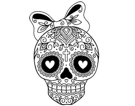 fotos de calaveras para imprimir dibujo de calavera mejicana con lazo para colorear