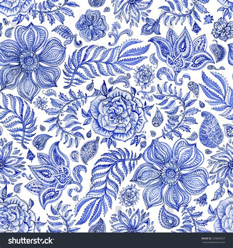 abstract seamless floral pattern indigo blue stock