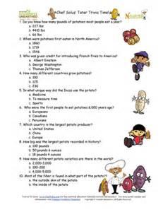 potato trivia question game sheet