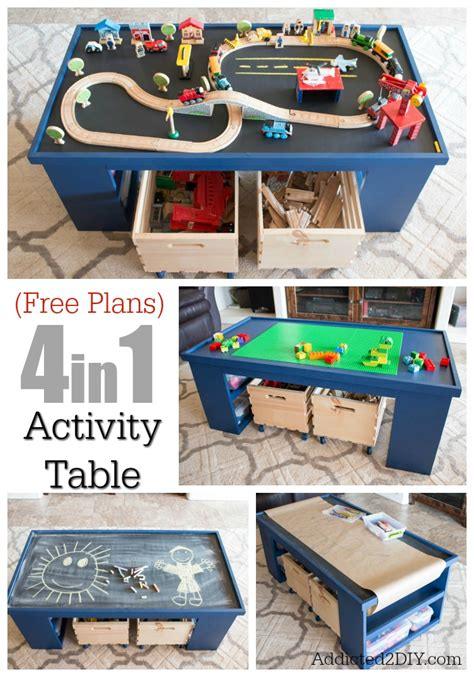 2 activity table free plans build a diy 4 in 1 activity table addicted