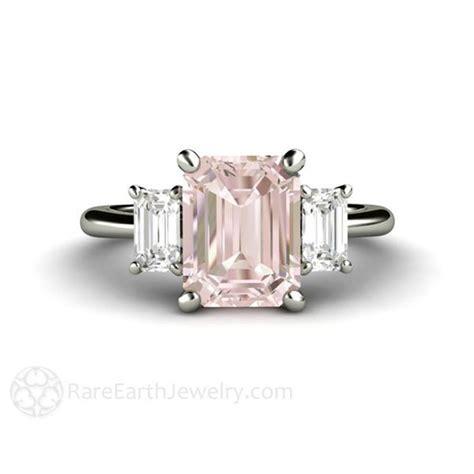 pink emerald cut three morganite wedding anniversary