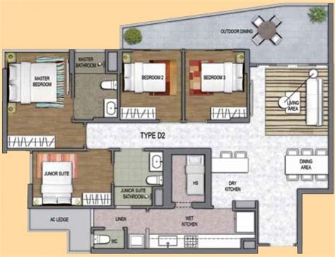 one canberra ec new launch 3d floor plan 4 bedroom