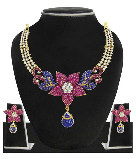 Best Seller Blue Flower Choker Playsuit zaveri pearls blue pink floral necklace set zpfk10 buy zaveri pearls blue pink floral