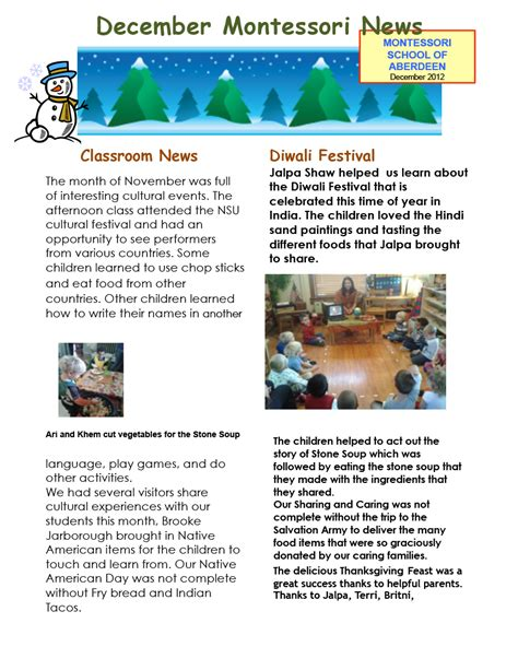 december newsletter template december newsletter events montessori school of