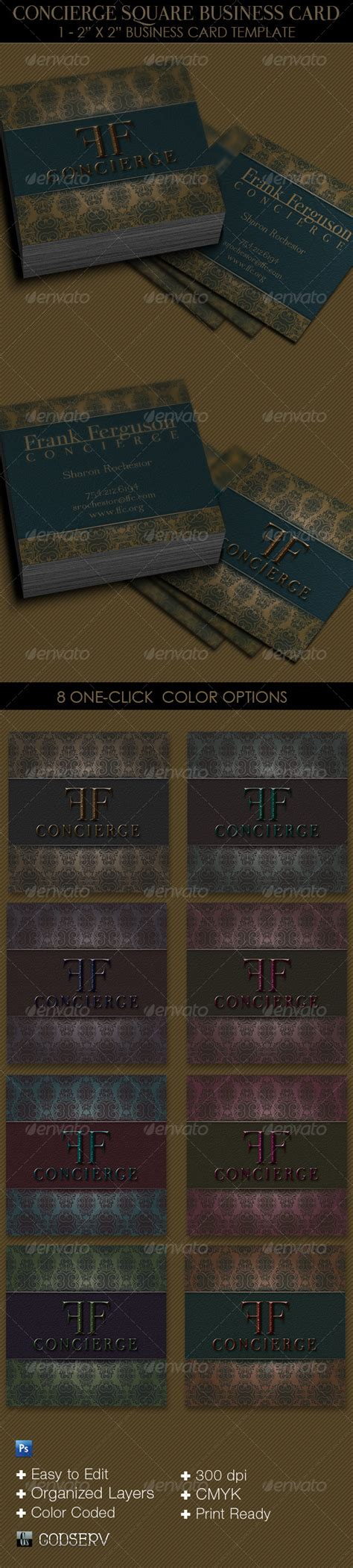 concierge business cards template concierge square business card template graphicriver