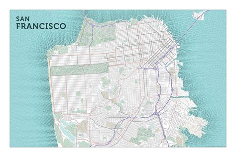 san francisco map city typographic maps san francisco