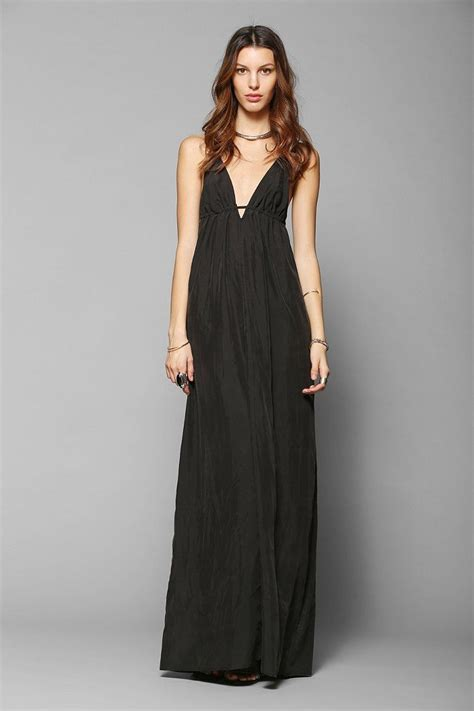 6037 maxi denim silence noise triangle top maxi slip dress