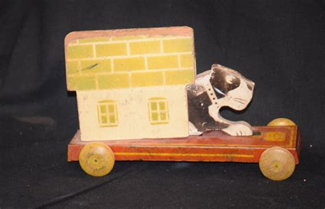 toy dog houses old dog wood pull toy w dog house hustler toy corp from oldeclectics on ruby lane