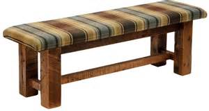 Bench Fabric Barnwood Upholstered Seat 60 Quot Upgrade Fabric Bench From