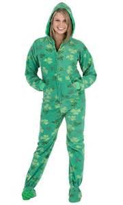 footed pajamas shamrocks hoodie one ebay