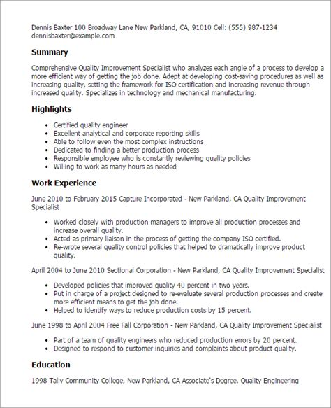 Process Specialist Cover Letter by Professional Quality Improvement Specialist Templates To Showcase Your Talent Myperfectresume