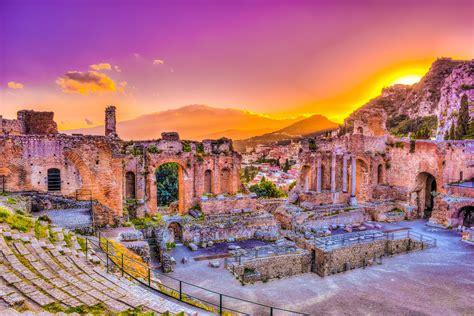 ruins  taormina theater  sunset sicily yacht