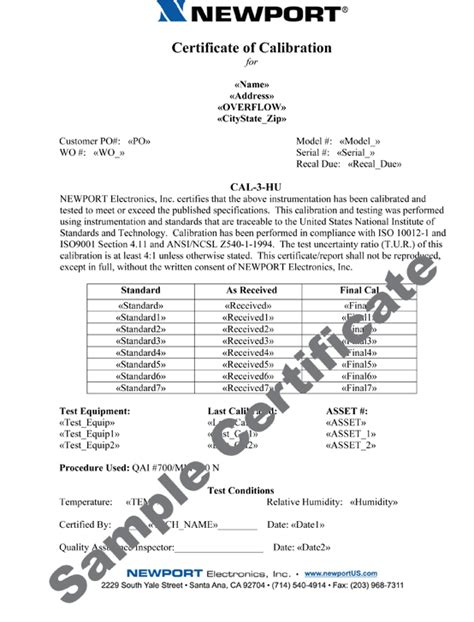 calibration certificate template factory calibrations for sensors wire instruments