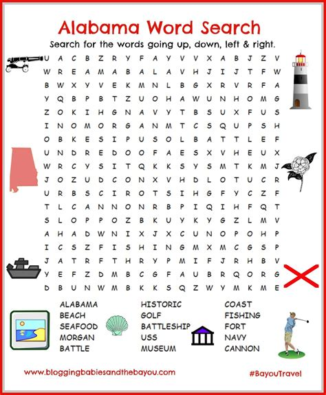 Alabama Search Alabama Gulf Shores Orange Word Search Printable For Children Bayoutravel