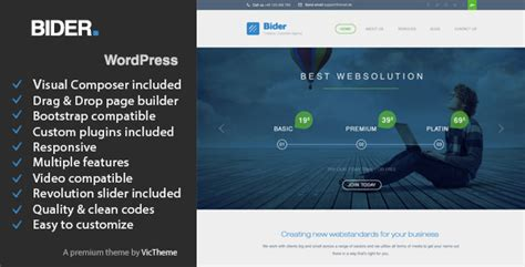 wordpress themes live preview bider multipurpose business wordpress theme themeforest