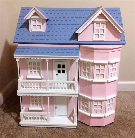 pink wooden doll house victorian wooden pink dollhouse house with furniture heavy