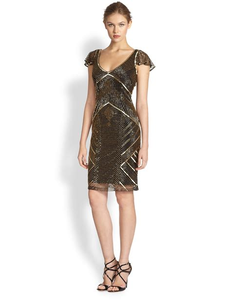 beaded dresses theia metallic beaded cocktail dress in gold lyst