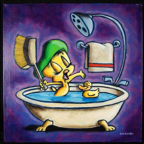 tweety singing in the bathtub dick duerrstein original painting tweety bird in tub