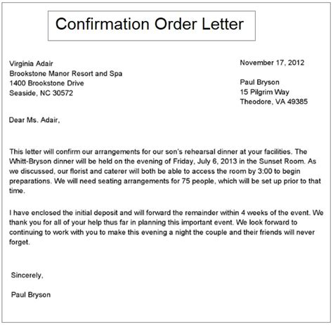 3 Order Confirmation Letter Sles Free Printable Word Pdf Order Confirmation Email Template